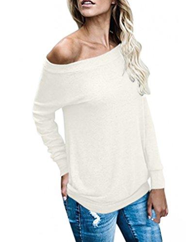 ACHIOOWA Donna Maglietta Manica Lunga Senza Spalline Moda Maglieria Casual Autunno Maglia T-Shirt Elegante Top Bianco S