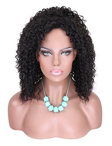 (Kalyss Mittlere Länge Kinky Curly Schwarz Perücke Locken Synthetik Perücke Hitzeresistente Afro Wigs für Cosplayer Karneval Mottoparties)