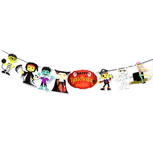 LANDFOX Halloween Papier Hängenden Banner Pull Blume Halloween Party Dekoration Requisiten Papierziehblume Halloweens DIY Paw Patrol Happy Birthday-Banner (D) (Halloween Paw Patrol-happy)
