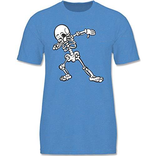 (Anlässe Kinder - Dabbing Skelett - 152-164 (12-14 Jahre) - Blau meliert - F140K - Jungen T-Shirt)