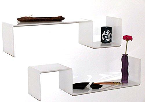 2 étagères design blanc brillant bibliothèque à mur Gisy B