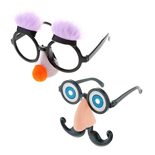 P Prettyia 2er Set Unisex Spaßbrille Partybrille Brille mit Augen Bart und Nase, Lustige Party Kostüm Zubehör