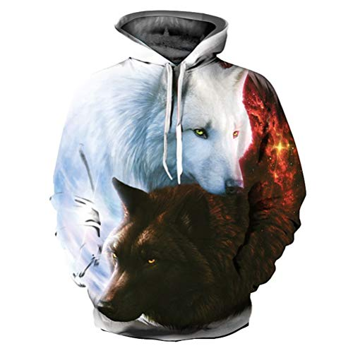 DFWY Animals Print Hoodies Men/Women 3D Sweatshirts with Hat Print White and Black Wolf Hooded Hoodies Hoody,S -