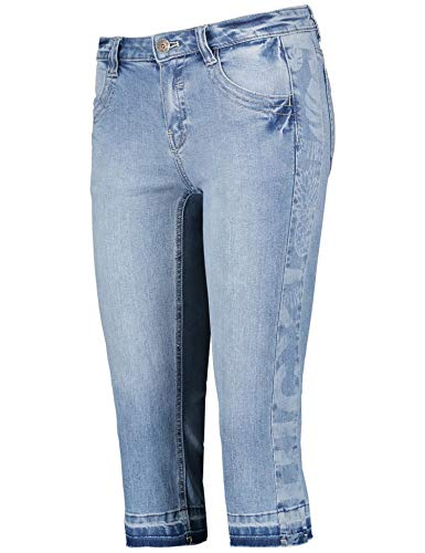 Taifun Damen Capri-Jeans Mit Stretchkomfort Cropped Ts Slim Fit Bleach Denim 46 Ts Denim Pant