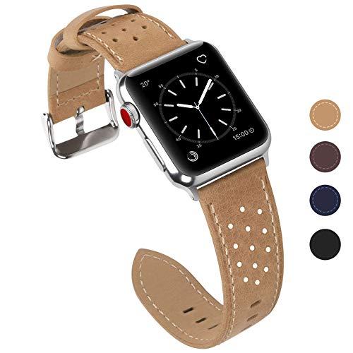 Fullmosa Kompatible Apple Watch Armband 42mm Series3, Breeze Lederarmband Ersatzband für iWatch Armband Serie 3 2 1 Hermes und Nike + Edition,42mm,Khaki -