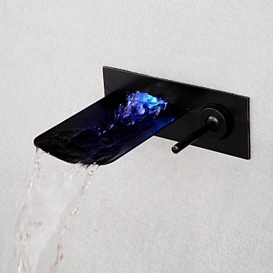 Blue Basin Waterfall (Miaoge Brushed LED Blue / Green / Red Light Waterfall Wall Mounted Bathroom Basin Faucet - Black)