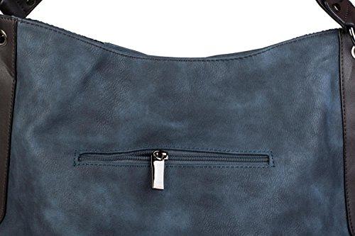 styleBREAKER Schultertasche mit seitlicher Schlangen Optik, Shopper, Umhängetasche, Beuteltasche, Damen 02012097, Farbe:Schwarz Dunkelblau