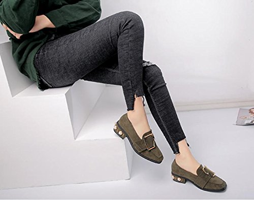Nuova testa quadrata con un singolo scarpe metallo femminile fibbia di perle tacchi bassi Green