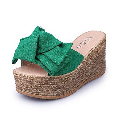 LvYuan Sandalen-Outddor Kleid Lässig-Kunstleder-Keilabsatz-Creepers-Schwarz Rot Beige Dunkelgrün Dark Green