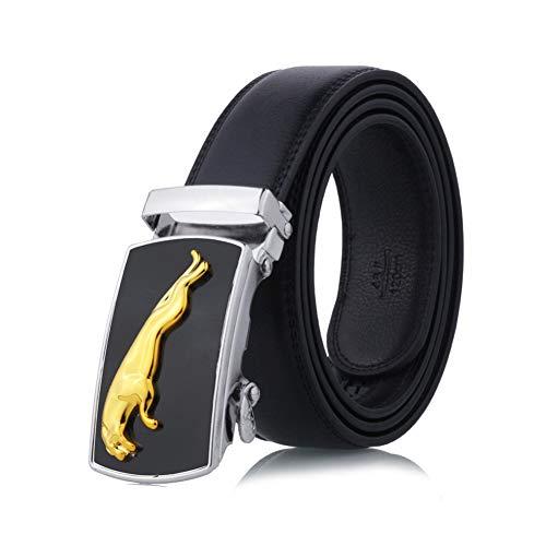 Zonfer Correas para Hombres Negros Correas De Cuero Masculino Trinquete Vestido Cinturón con Hebilla Automática Cinturón De Cintura De Los Pantalones Vaqueros