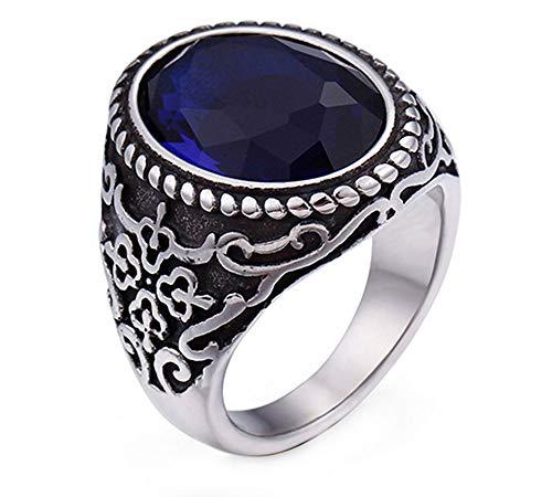 n Herren Jahrgang Nordisch Krieger Juwel Miniatur Rostfreier Stahl Ringe,Silber Blau,Größe 62 (19.7) ()