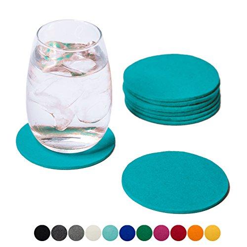 r, rund 8er Set (Farbe wählbar) - Glasuntersetzer aus 100% Wollfilz, Untersetzer für Bar und Tisch Einrichtungsideen als Tischdeko (Türkis) (Klar Blau Plastik Becher)