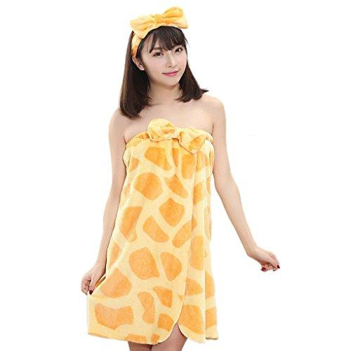 Smartstar Flanell Badetuch/Bademäntel Sauna Wrap Handtuch Set Badetuch & Haarband mit Schleife Giraffe