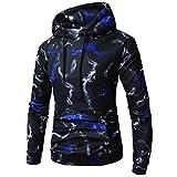 UFACE Herren Digital Print Langarm Hoodie Pullover Top Langarm Bedrucktes Hoodie Kapuzen Sweatshirt Top Tee Outwear Bluse(Blau,2XL)
