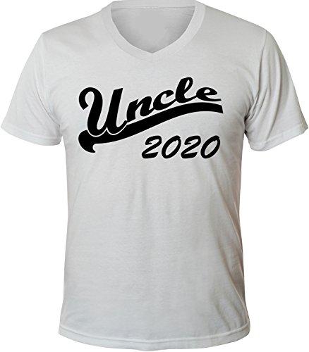 Mister Merchandise Herren Men V-Ausschnitt T-Shirt Uncle 2020 Tee Shirt Neck bedruckt Weiß
