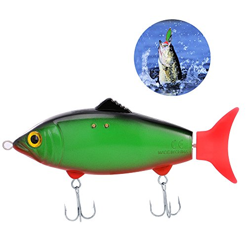Bestok Pêche Leurres Électronique Mouvement Appâts Balançoire Queue Mer Attirail de Pêche avec Crochets Aigus pour Brochet Alose Truite Carpe Basse Perche (Green+Red)