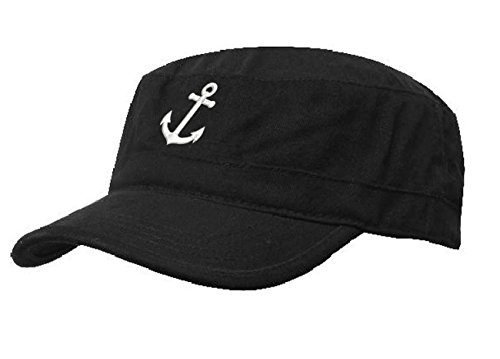 ze Anker Army Military Baseballmütze Anchor Cap Schiff Yacht Captain (Black White) MFAZ Morefaz Ltd (Yacht-caps)