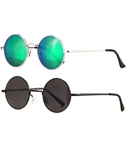 Caripe Lennon Retro Vintage Sonnenbrille Metall Damen Herren John Lennon rund Nickelbrille (2er Set: 815 - Silber - Bluegreen verspiegelt - schwarz - schwarz getönt)