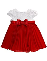 Youngland Baby Girls' Lace Bodice to Chiffon Pleated Dress