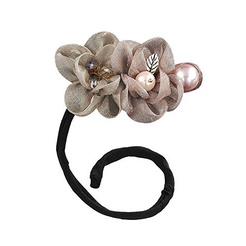 aimaoer Blume Fön, Frikadelle Kopf, Blüte, Erstaunliche Form, Perle, Haarstab, Geflochtenes Haar, Haarschmuck Champagner -
