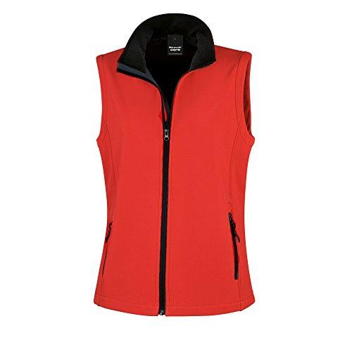 Result Core Damen Softshell-Weste, bedruckbar (Large) (Rot/Schwarz) -