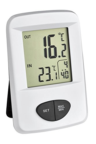 TFA Dostmann Base Funk-Thermometer, Außentemperatur, Innentemperatur, Höchst-und Tiefstwerte, Uhrzeit Base Station Sender