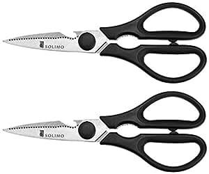 Amazon Brand - Solimo Premium High-Carbon Stainless Steel Detachable Kitchen Scissors Set, Set of 2, Silver