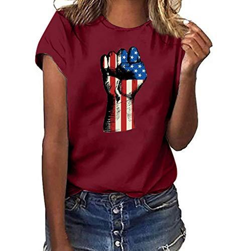 Bellelove Damen T-Shirt, Rundhals Kurzarm Casual T-Shirt Für Frauen Shirt Faust American Flag Print Top Einfach Lose Oberteil -