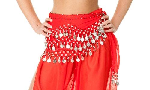 Orientalisch Bauchtanz Kostüm mit Pailletten und Schal, rot, Belly Dance Bauchtanz Rock (Orientale Danse Kostüm)