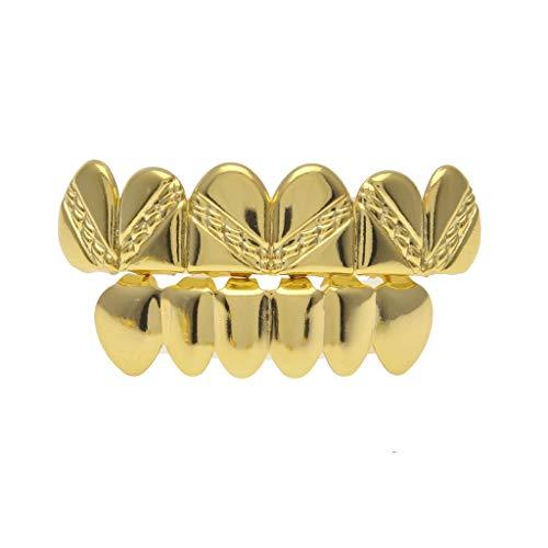 YHDD Hip-Hop-Hosenträger mit vergoldetem Twill (Farbe : Gold, Design : B) Gold-twill