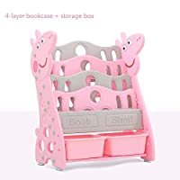 AUED Kids Floor Book Rack, Children Plastic Book Rack Storage Bookshelf Daily Activity Closet Organizer, for Home Bedroom Pink/Blue,Pink,A