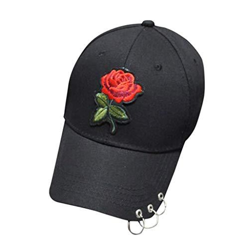Imagen de vecdy  béisbol, algodón bordado rosa tres anillos  de béisbol hombres y mujeres deportes curva sombrilla sombrero de  deportes adjustable al aire libre motocicleta negro,1