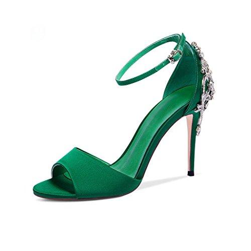 JIANXIN Scarpe Col Tacco Alto Estive Da Donna Con Un Fish-mouth E Sandali Stile Romano. (Colore : Verde, dimensioni : 38)