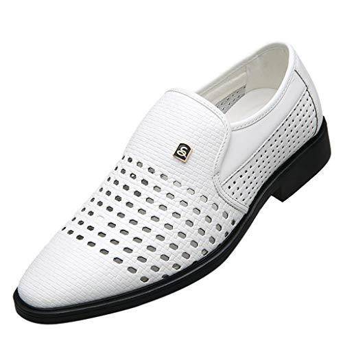 LABIUO Mode Hohle Atmungsaktive Herren Lederschuhe Einfach Gummi Sohle Wies Freizeitschuhe Business-Schuhe(Weiß,40) - Perforierte Leder-plattform