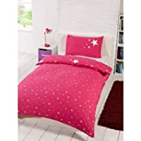 Kids Childrens Glow in the Dark Single Duvet Set Pink