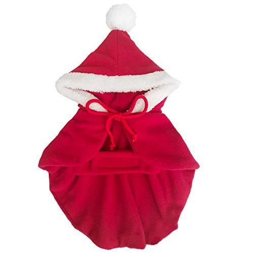 WUYANSE Haustier Weihnachten Halloween Rote Kapuze Weiß Seite Warm und Samt Umhang Haustier Weihnachts Kleidung Gedruckt Weihnachten Halloween Dicken Stil Ziehen Hund Weihnachtsmantel ()