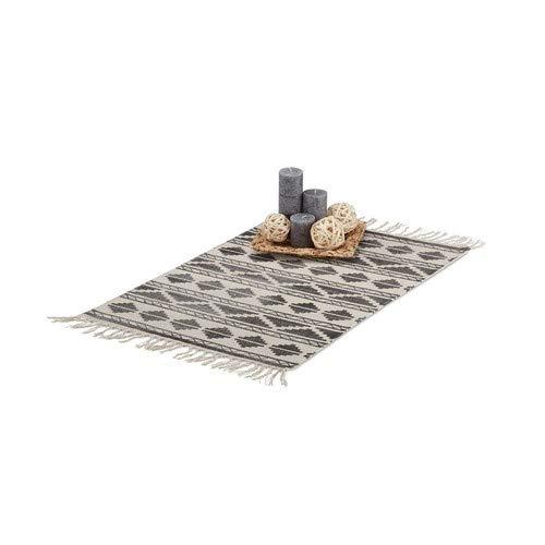Relaxdays Teppichläufer mit Muster für Flur, Diele, Wohnzimmer, weicher Kurzflor Teppich klein in 60 x 90 cm, schwarz