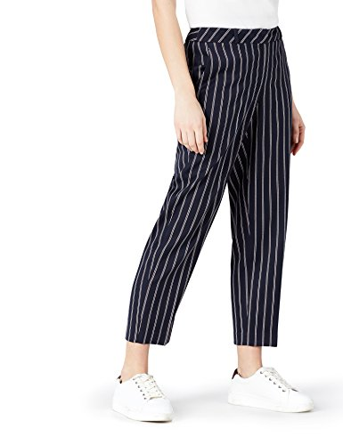 FIND Damen Hose mit Streifen und weitem Bein, Blau (Navy), 38 (Herstellergröße: S) (Weites Nadelstreifen Bein Hose)