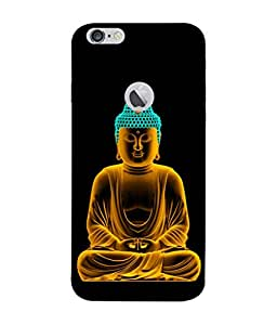 PrintVisa Designer Back Case Cover for Apple iPhone 6S (Logo View Window Case) (Lord Buddha In Calm Black Background)