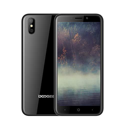 DOOGEE X50 Smartphone ohne Vertrag, Handy Dual SIM 5,0 Zoll HD Display, 3G Netzwerk Phone Portable, Android Go Mobile, Telephone mit MT6580M Quad-Core, 1 GB RAM + 8 GB ROM, 5.0MP + 0.3MP Kameras, 2000mAh Akku, GPS, Bluetooth, Dual SIM, WiFi, Smartphone entsperrt Günstige bei weniger als 100 Euro, - Schwarz