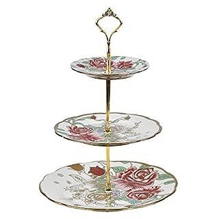 ARIANA© 3 Tier Vintage Floral Ceramic Display Cake Stand A-1 Golden Rose Floral