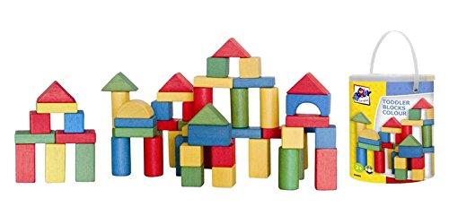 Woodyland Bloques niño en un cubo con una tapa de Clasificación de la forma (100 piezas)