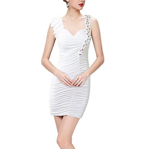 KAXIDY Femme Robe Courte Élégant Courte Robe Soirée Sans Manches Robe de Cocktail Plage Partie Blanc