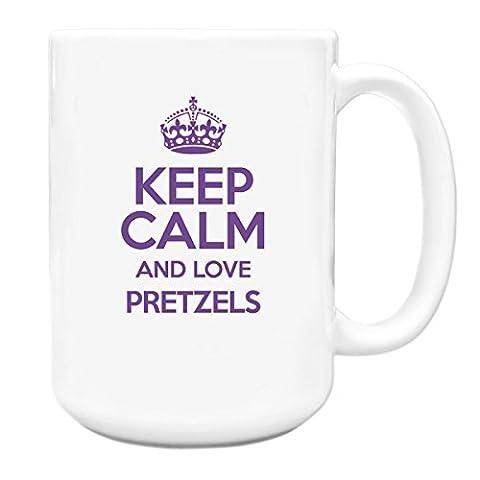 PURPLE Keep Calm and Love Pretzels Big 15oz Mug TXT 2850