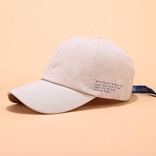 sdssup Weiblicher Sommersonnenhut der Baseballmütze weicher Schwestertrend Wilder Hutseitenbuchstabe beige justierbar