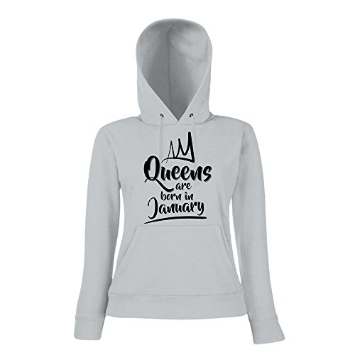 Queens are born in January Premiumhoody | Geburtstags-Hoody | Geburtsmonat | Januarkind | Frauen | Kapuzenpullover Graumeliert