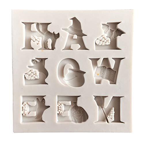 Kuizhiren1 Silikon-Form für Fondant, Halloween, Buchstaben, Ghost Cat Kürbis, Fondant, Kuchen, Zuckerguss, Dekoration, cremefarben