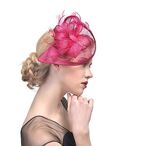 EisEyen Braut Haarband Haarschmuck Haarspangen Fascinators Hut Cocktail Party Tee Kopfbedeckung Organza Bänder mit Stirnband und Gabel Clip Kopfschmuck für Mädchen und Frauen -
