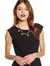Kenneth Jay Lane Women's 10 ct Gold Plated Emerald Square Top with Rhinestone Triangle Bottom Five Drop Necklace of Length 45.72 cm