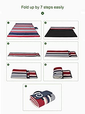 Yodo Extra Large Picnic Blanket Rug Waterproof 200 x 200/150cm for Festival Beach Travel Camping Outdoor,Summer Stripe - low-cost UK light shop.